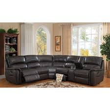 hydeline by amax camino charcoal grey leather reclining sectional
