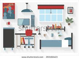 Bedroom One Furniture Teen Bedroom Furniture Computer Desk Bed Stock Vector 293168423