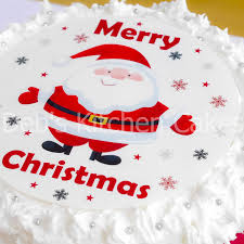 christmas cake topper santa cake decoration edible icing round