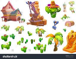 illustration desert theme elements design game stock illustration