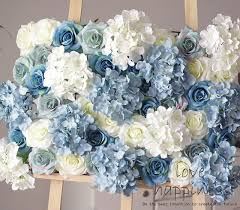 white and blue flowers 10pcs lot artificial silk with hydrangea flower wall white