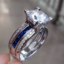Blue Wedding Rings by Amazon Com Newshe Jewellery Round Blue Cz 925 Sterling Silver