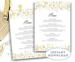 Editable Wedding Invitation Cards Gold Wedding Menu Template 5x7 Editable Text Microsoft Word
