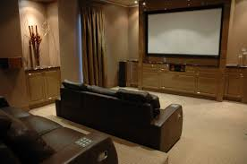 clean comfortable home theater room ideas with lacquered cream