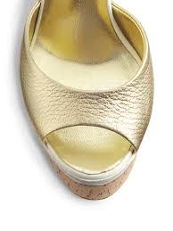 giuseppe zanotti metallic leather cork wedge sandals in metallic