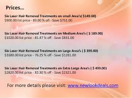 six laser hair removal treatments on small medium large and l