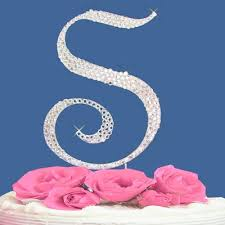 s cake topper monogram wedding cake topper letter with crystals 1