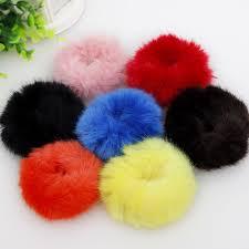 hair rubber bands artificial rabbit plush big downy elastic hair bands fashion