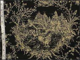 Black And Gold Upholstery Fabric Rooster Chicken Toile Fabric Brickhouse Fabrics