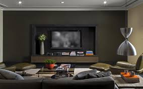 Modern Dark Gray Beige Family TV Room Design Featuring Black Wall - Family room design with tv