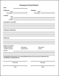 generic incident report template employee incident report template description of incident