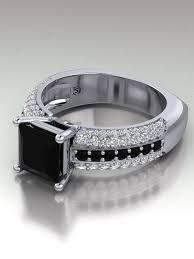 white and black diamond engagement rings princess cut black diamond engagement ring black diamond