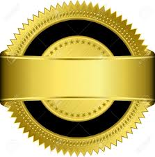 Seal Ribbon Golden Blank Label With Golden Ribbon Royalty Free Cliparts