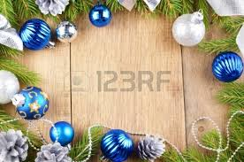 background of blue and silver balls wooden table