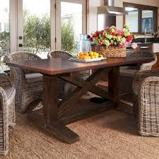 hammered copper dining table copper trestle table native trails