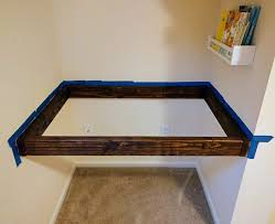 how to build a floating desk diy floating wall desk with storage easy step by step instructions