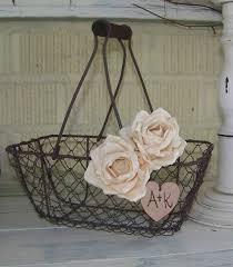 rustic flower u0027s wedding basket chicken wire with ivory paper