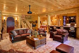 incorporating indoor entertainment areas into your log home leather furniture in home theater room indoor entertainment areas log homes log cabin open floor plans