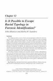 is it possible to escape racial typology in forensic