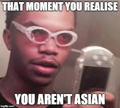 Black Guy With Glasses Meme - wait i am not asian imgflip