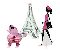 pink black paris themed 3 piece table party centerpiece
