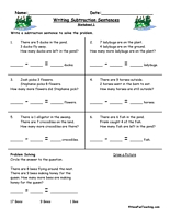 writing subtraction sentences worksheets sentences writing and
