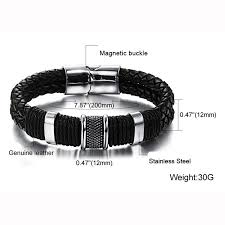 bracelet stainless steel images Genuine leather bracelet men stainless steel leather braid jpg