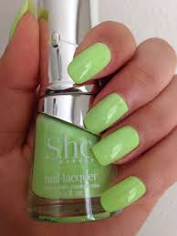neon green nails using she makeup nail polish in the color pastel