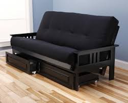 black futon sleeper couch with adjustable mahogany wood frame of