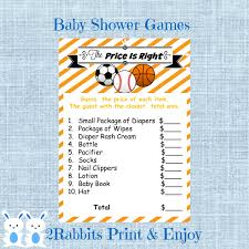sports baby shower the price is right baby shower game