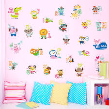 cartoon animals alphabet english letters wall stickers kids boys cartoon animals alphabet english letters wall stickers kids boys girls nursery early education applique
