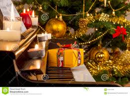 christmas gift on piano stock photo image of container 57671378