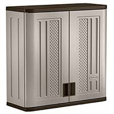 Storage Wall Cabinets With Doors Amazon Com Suncast Wall Storage Cabinet Platinum Home U0026 Kitchen