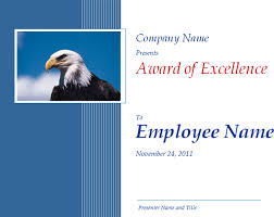 excellence award certificate template with eagle