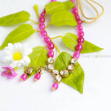 pink beads necklace images Delicate kundan pink beads necklace zivar creations jpg