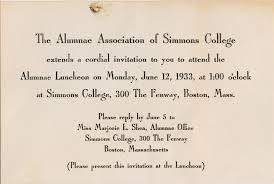 Lunch Invitation Card Caroline Invitation To Alumnae Luncheon At Simmons