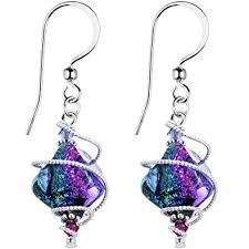 purple earrings candy handcrafted 925 silver purple dichroic drop
