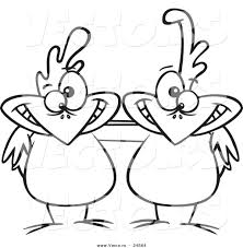 vector of a cartoon chicken buddies outlined coloring page by
