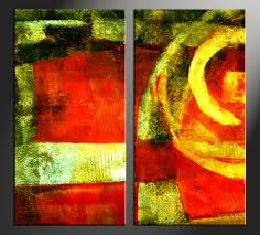 2 piece colorful home decor abstract photo canvas