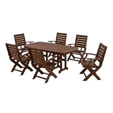 Plastic Patio Dining Sets - polywood chippendale slate grey 7 piece plastic patio dining set