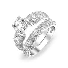 filigree engagement ring 1 5 ct sterling silver filigree cz wedding engagement ring set