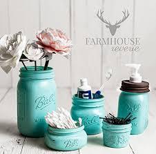Amazon Vintage Blue Rustic Mason Jar Bathroom Set Tiffany