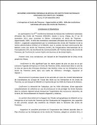 declarations network of african national human rights institutions