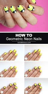 geometric neon nails nail art tutorial