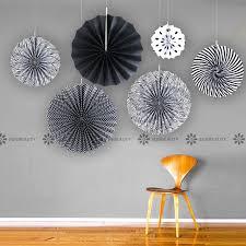 party fans black paper fan rosettes backdrop paper pinwheel garland party