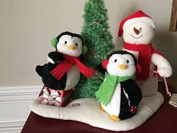 amazon com hallmark very merry trio singing snowman with penguins