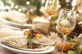 and rustic thanksgiving place settings dining table stock