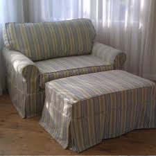 Chair And A Half Slip Cover Shabby Blue And Yellow Fabric Striped Slipcover Chair With Back