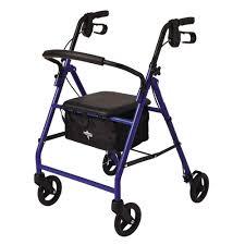 senior walkers with seat medline steel lightweight folding 4 wheel rollator in blue