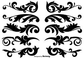 scroll works design ornamental decorative vector elements
